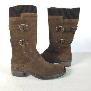Aquatalia Brown Suede Mid Calf Boots